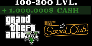 GTA 5 Social Club + 100-200 LVL + 1.000.000$ CASH