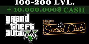 GTA 5 Social Club + 100-200 LVL + 10.000.000$ CASH